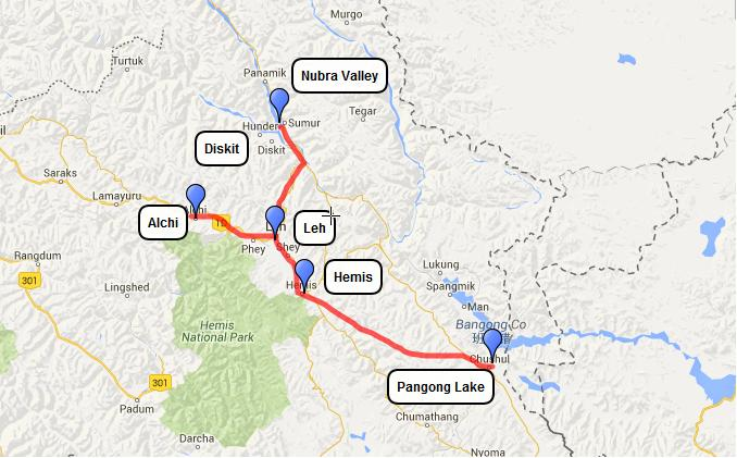 best places to visit in leh ladakh route map