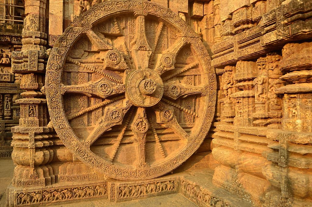 a chariot which comprises of 24 wheels pulled by 7 horses - konark sun temple