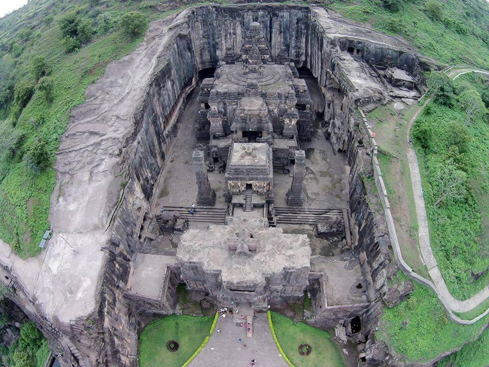 distant view of kailash temple ellora 5 mysterious temples of india