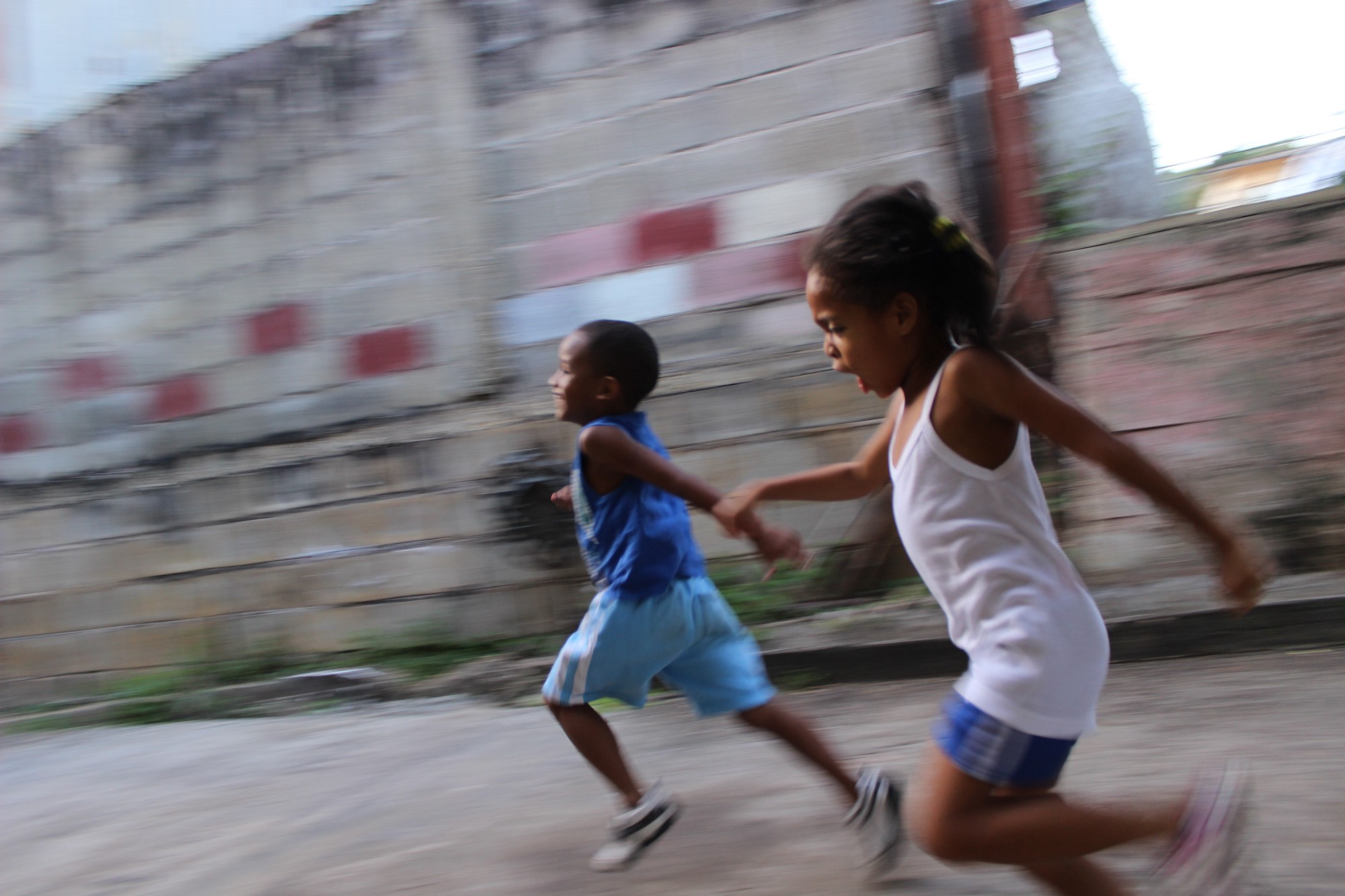 brother running with his sister while facing problem when she travel with her brother