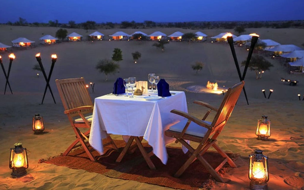 candle night dinner camp stay osian dunes - desert cities in rajasthan