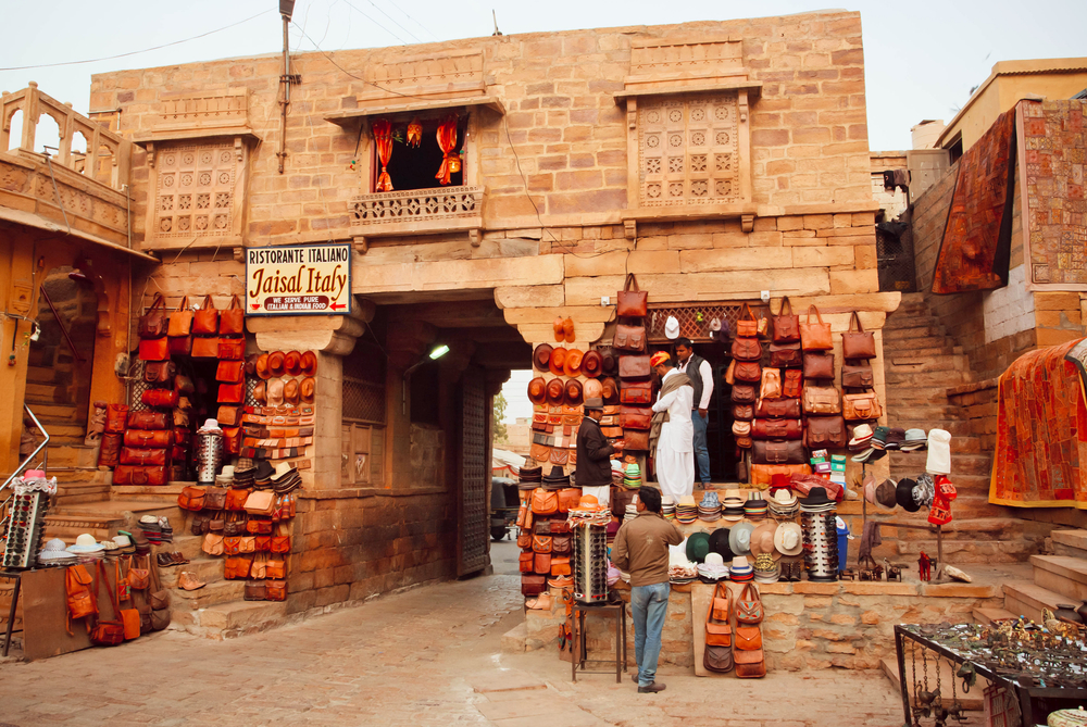 leather bags market in jaisalmer - desert cities in rajasthan